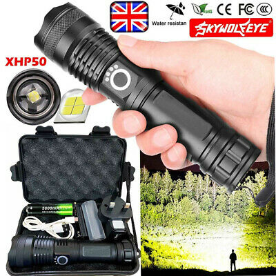 Super Bright 900000Lumens Torch XHP50 Zoom Flashlight LED Rechargeable Headlamp
