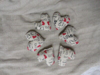 6~Primitive Heart Bowl Fillers~Ornies~Cream w/red hearts,Love~Valentine's