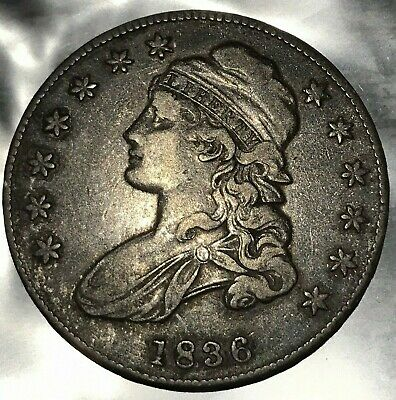 1836  Half Dollar Silver Capped Bust 50 Cents  Lettered Edge Xf   #Y46