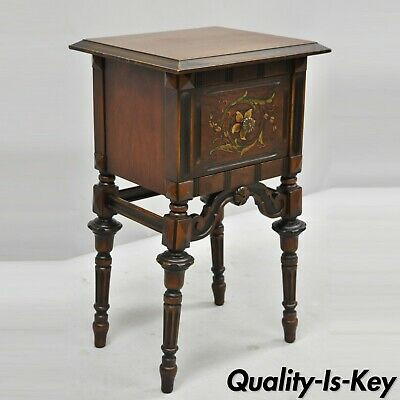 Antique Jacobean Carved Walnut Side Table Nightstand with Hand Painted Drawer