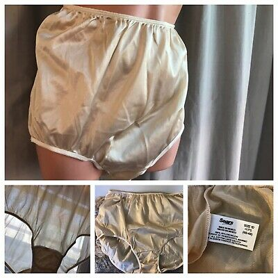 VTG 90's SEARS Panties Nylon Shiny Beige Mushroom Gusset Briefs 10 Hips (45-48)