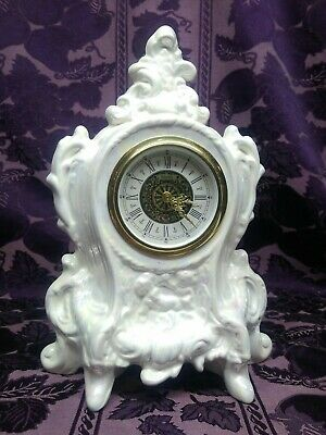 VINTAGE NARCO MECHANICAL MANTEL SHELF CLOCK CARAL MADE IN GERMANY White Pearl