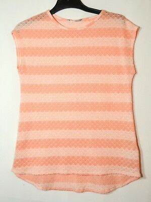 Pink White Ladies Casual Knitted Top Blouse Size 14 Red Herring Striped