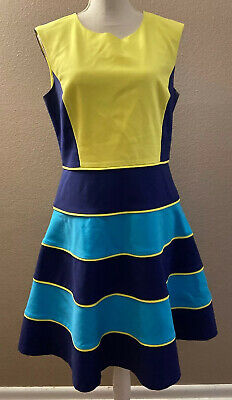 Badgley Mischka Belle Womens Striped Yellow Blue Dress 12 Circle Skirt Cocktail
