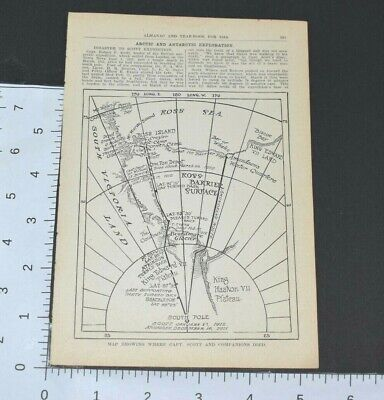 1914 Almanac Map South Pole Showing Where Captain Scott Died Book Page
