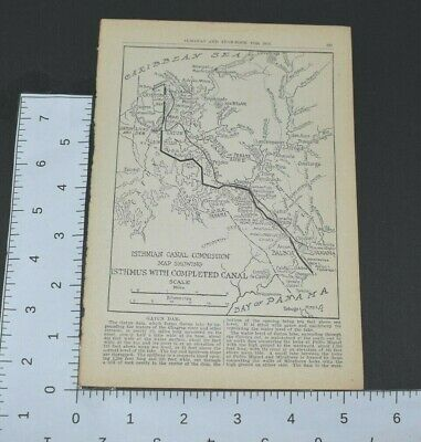 1914 Almanac Map Isthmian Canal Commission Bay Of Panama Completed Book Page