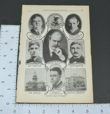 1914 Almanac Illinois State Officials Capitol Mansion Governor Auditor Book Page