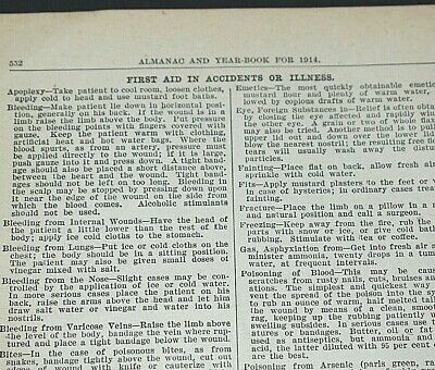 1914 Almanac Book Page First Aid In Accidents Or Illness Medicine Application