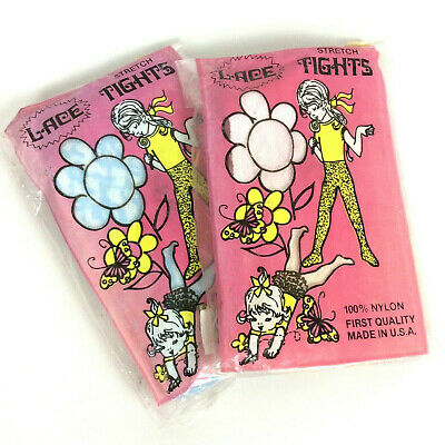 Childrens Lace Tights 2 Pair Size 7-10 Blue Pink Nylon Vtg 60s Made In USA