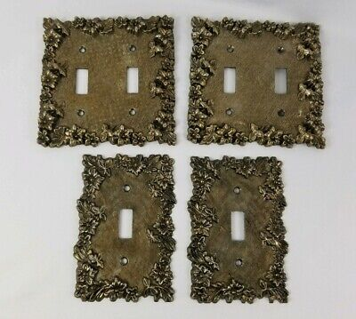 Vintage Edmar Ornate Metal Wall Switch Plate Covers Single And Double Set of 4