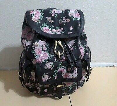 Black and Pink Floral Faux Leather Backpack Print Roses Multi Pockets Large Bag