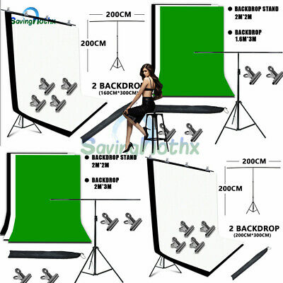 Photo Studio Black White Green Backdrop +Background T Type Support Stand KIT+BAG