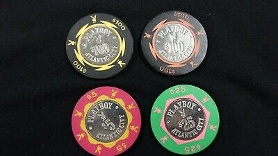 4 Vintage Playboy Hotel Casino Chip Atlantic City - $5 $25 $100 Chips