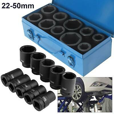 "10pc 1"" Deep Impact Sockets Set Long Reach Sockets Wheel Wrench Nut Tool 22-50mm"