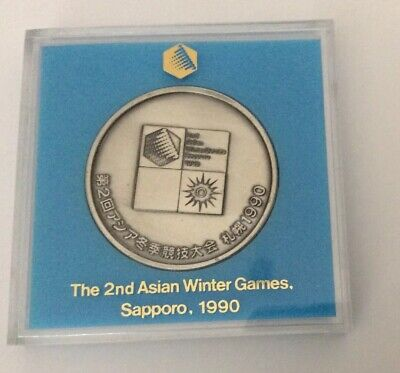 2nd ASIAN WINTER GAMES SAPPORO 1990  LARGE MEDALLION WITH PRESENTATION CASE