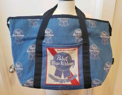 "Pabst Blue Ribbon Bag Carry on Beverage Beer Tote 17"" L 11"" H 8"" W Made in USA"