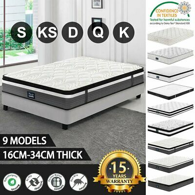 Queen Double King Single Mattress Bed Pocket Spring Memory Latex Foam EuroTop