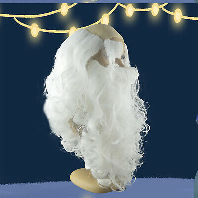 Father Christmas Santa Claus Wig and Beard Adult Fancy Dress Costume N7X