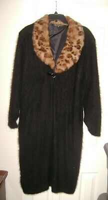 Connie A. Lee Black Angora 80% Leopard Collar Lined in Black Sweater Coat XL