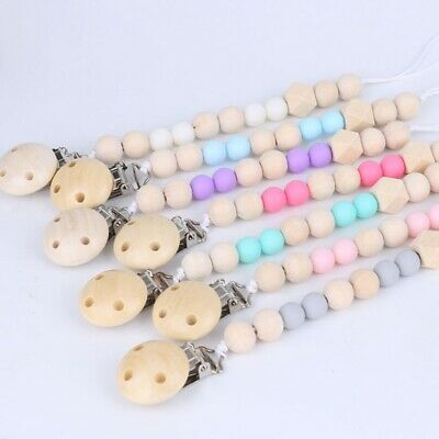 Wooden Baby Pacifier Clip Chain Holder Nipple Leash Strap Pacifier Soother Lovel