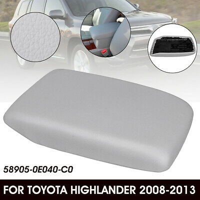 Gray For 2008-2013 Toyota Highlander PU Leather Center Console Lid Armrest