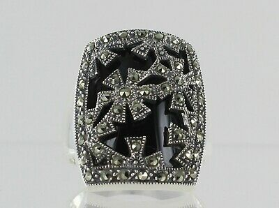 Sterling Silver Onyx and Marcasite Art deco style dress ring ref S1012