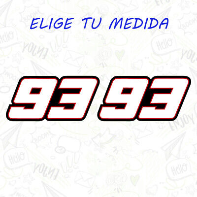 2x PEGATINA MARC MARQUEZ  NUMERO 93 MM93 MOTOGP VINILO STICKER DECAL BLANCO GP