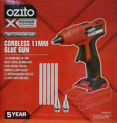 Ozito Power X Change 18V Cordless Hot Glue Gun Skin + 2x Nozzles 5x Glue Sticks