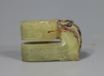 Chinese old han Dy. green jade carved dragon figure lucky pendant