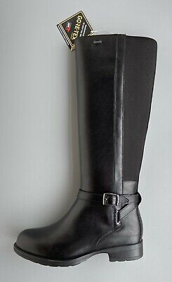 """Clarks Ladies """"Cheshunthi GTX"""" Black Leather Knee High Gore Tex Boots UK 3.5 D"""