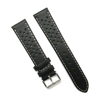 RALLY Racing Black GENUINE LEATHER watch STRAP band perforated holes