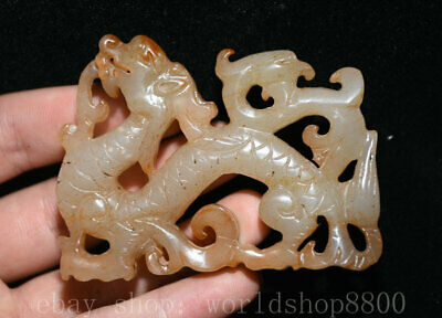"""3"""" Ancient China Old Jade nephrite Dynasty Dragon Loong Beast Yu Bi Statue"""