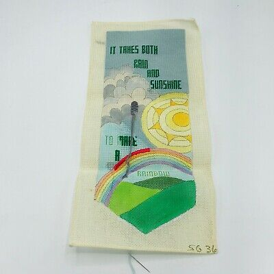 Vintage Hand Painted Needlepoint Pattern Canvas Rain Sunshine Rainbow Pride