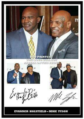 (#195) evander holyfield & mike tyson signed a4 photo//framed (reprint) grt gift