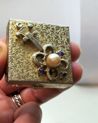 Vintage Mid Century Gold Tone 3D Guitar Top Pill Box Trinket With Pearl & Gems