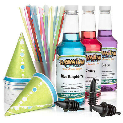 HAWAIIAN SHAVED ICE SYRUP 3 Flavor Pack Snow Cone Syrups Kit With Accessories
