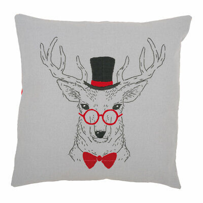 Vervaco Embroidery Kit Cushion |  Deer with Red Glasses | 40x40cm