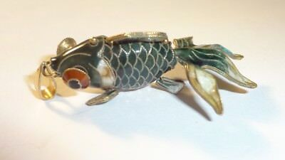 Chinese Gilt Silver Enamel Cloisonne Articulated Fish Charm Pendant