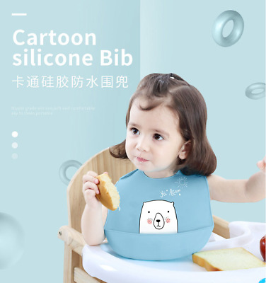 Baby Bibs Dishwasher safe Comfortable Silicone Feeding Food Catcher Plastic