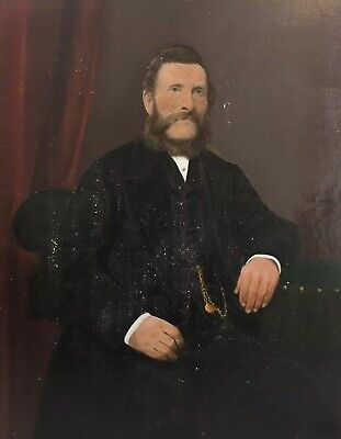 Antique Late 19th - Early 20th C Oil Painting Portrait of A Seated Gentleman