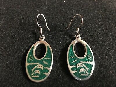 Vintage STERLING SILVER Drop/Dangle EARRINGS Green with Dolphins JUST BEAUTIFUL!