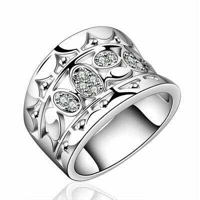 Setting Engagement Natural Crystal Cubic Zirconia Solid Silver Plated Rings