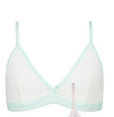 John Lewis Girls Floral Bra White / Green 28AA New With Defect Free UK Postage