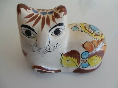 Vintage Ceramic Hand Painted Cat Figurine Signed and Numbered Mexico Folk Art