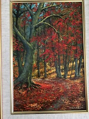 Oil painting by Frank Wilson - 'Fallen leaves' REDUCED