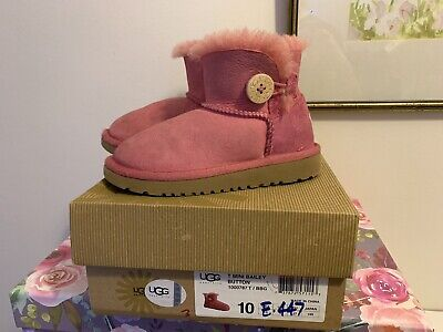 Girls Mini Bailey Button Ugg boots pink size 9 (uk)