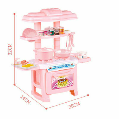 Pink Kitchen Cooking Toys Girl Portable Electronic Children Kids Cooker Play Set