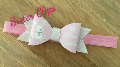 Baby Girls glitter cute my 1st first easter bow Soft Elastic headband