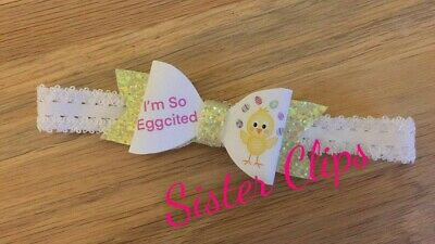 Baby Girls glitter cute easter bow Soft Elastic headband chick