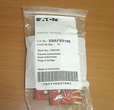 Lot of 10 - Eaton / Cutler Hammer XBAFBS106 10 Position Red Plug-In Bridge